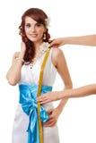 Longitud de medición de la cintura a llevar a hombros imagenes de archivo