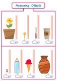 Longitud de medición de los objetos con la regla, hoja de trabajo para los niños, hojas de la práctica, actividades de las matemá libre illustration