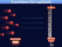 Longitud de trayectoria de la radiación de Proton y x28; 3d illustration& x29; Imagen de archivo libre de regalías