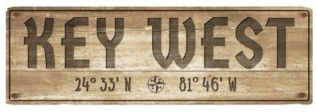 Longitude de madeira da latitude do sinal de Key West Florida fotos de stock