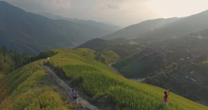 Longji Rice Terrace in Ping An Village stock footage