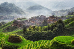 Longji rice terrace. Tian tou zhai village viewed from the viewpoint number 1 music from paradise in longji rice terrace, china Stock Image
