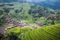 Longji rice terraces. Dazhai village in Longji rice terraces, Guangxi province Royalty Free Stock Photo
