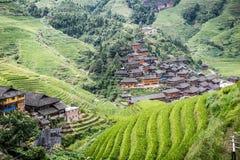 Longji rice terraces. Dazhai village in Longji rice terraces, Guangxi province Royalty Free Stock Photos