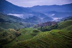 Longji rice terraces. Dazhai village in Longji rice terraces, Guangxi province Stock Photo