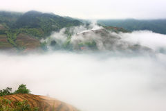 Longji terrace with fog ,Guilin Stock Images