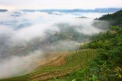 Longji terrace with fog ,Guilin Royalty Free Stock Photos