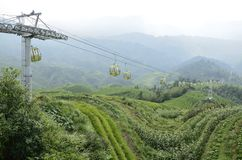 Longji terrace on the ropeway Dong Village Royalty Free Stock Photo