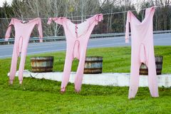 Long johns hanging on clothesline with wash tubs stock photos