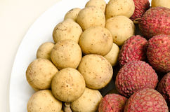 Longkong e Lichee, frutta tailandese Fotografia Stock Libera da Diritti