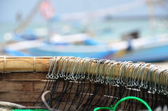Longline fishing hooks. Basket with longline hooks attached to the main line used by local fishermen on Bali, Indonesia stock images