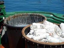 Longline på en fiskebåt Arkivfoton