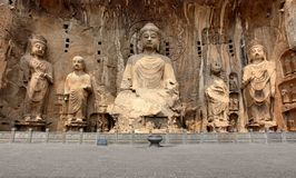 Longmen Grottoes with Buddha's figures Royalty Free Stock Photo