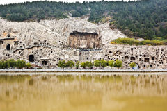 Longmen Grottoes panorama china. Longmen Grottoes was  Built in 675 AD Tang Dynasty. In 2000, Longmen Grottoes was listed World Heritage List by UNESCO. Longmen Royalty Free Stock Images