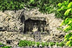 Longmen grottor, Luoyang, Kina Arkivfoton