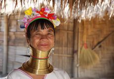 LONGNECK KAREN VILLAGE, THAILAND - DECEMBER 17. 2017: Close up portrait of old long neck woman from Padaung tribe wearing. Karen village - Close up portrait of royalty free stock photos
