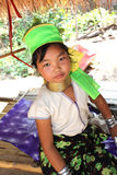 A longneck thai tribe girl. A longneck hill tribe girl in Chiang Mai Thailand royalty free stock photo