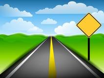 Longo caminho com sinal amarelo em branco ilustração do vetor