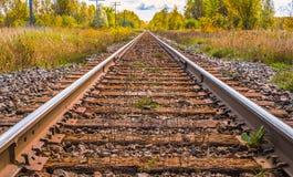 ` Longo velho no campo, cor da estrada de ferro do ` da trilha do trem do outono fotografia de stock