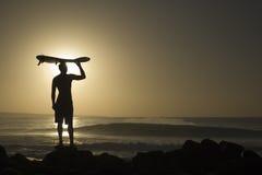Longoard en la puesta del sol 4 Foto de archivo