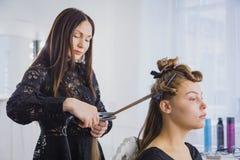 Longs cheveux étant redressés avec du fer par le styliste Photo libre de droits