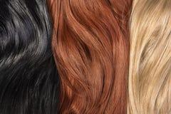Longs cheveux brillants humains blonds, noirs, rouges Image libre de droits