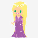 Longs cheveux de princesse Fille du château Caractère de conte de fées Image stock