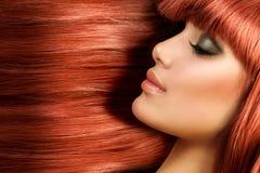Longs cheveux droits sains Photo stock
