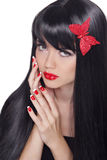 Longs cheveux noirs sains. Belle femme magnifique avec le charme b photo libre de droits