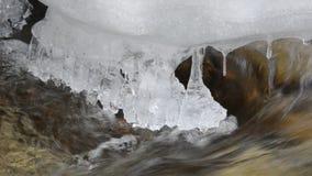 Longs glaçons accrochants froids avec le courant actuel de montagne fraîche propre dessous dans la région sauvage de cercle arcti banque de vidéos
