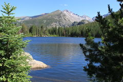 Longs Peak From Bear Lake. Beautiful Bear Lake in the foreground with majestic 14K Longs Peak in the background Royalty Free Stock Images