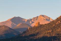 Longs Peak Colorado at Sunrise stock images
