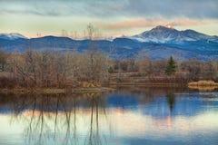 Longs Peak from Golden Ponds stock photo