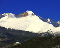 Longs peak in Rocky Mountain National Park. Snow capped Long`s peak in late may 2017 Stock Photography