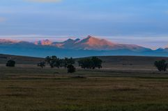 Longs Peak at Sunrise Seen From the Plains Of Colorado royalty free stock photo