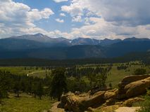 Longs Peak Under Summer Clouds Royalty Free Stock Photography