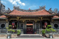 The Longshan Mengija temple in Taipei, Taiwan.  royalty free stock image