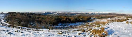 Longshaw Derbyshire maximalt område Panarama Royaltyfri Fotografi