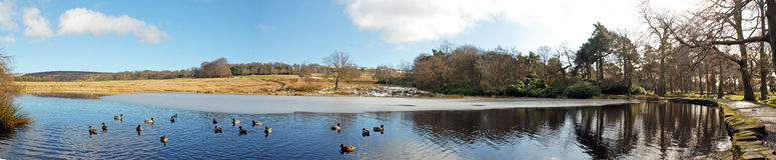Longshaw Estate Lake, Derbyshire. A panaramic view of Longshaw Estate Lake, Derbyshire Royalty Free Stock Photography