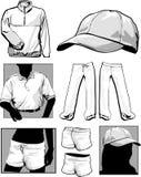 Longsleeve Shirts & Sweatshirts. Blank miscellaneous clothing Templates Vector polo shirt hat pants shorts Royalty Free Stock Photo