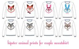 Longsleevet-shirts met de malplaatjes van dierengezichten Stock Afbeelding