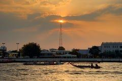 Longtail łódź w Chao Phraya rzece Obraz Royalty Free