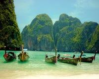 Phi Phi wyspy Longtail łodzie Zdjęcie Royalty Free