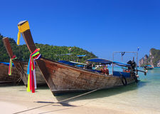 Longtail boat. Traditional Thailand boat at Loh Dalum Beach, Phi Phi Island, Thailand Stock Photos