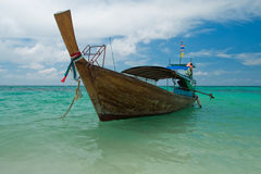 Longtail boat in emerald andaman sea Stock Photography