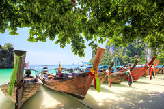 Longtail boat. At Hong island Krabi Thailand stock images