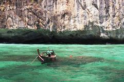 Longtail boat. In turquoise waters, phi-phi island, phuket, thailand Stock Image