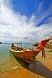 Longtail Boat. Thai Longtail boat at Koh Tao beach stock photos