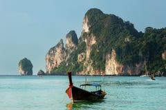 Longtail boat anchored at Ao Loh Dalum on Phi Phi Don Island, Kr Royalty Free Stock Photo