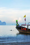Longtail boat. Anchored on the beach (Thailand Royalty Free Stock Image